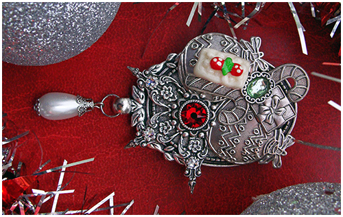 christmas ornaments brooch cake candy cane