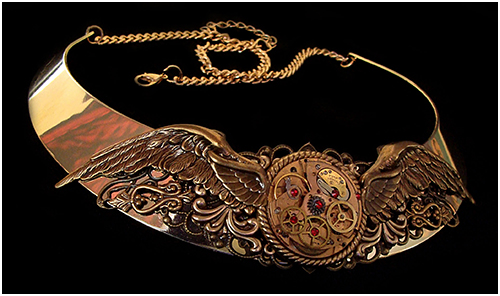 Steampunk Necklace Wings of Time