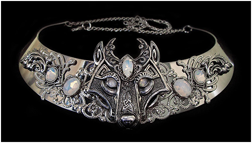 viking necklace celtic wolf white opal