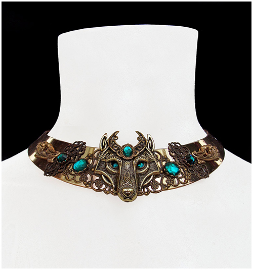 celtic wolf necklace medieval torc