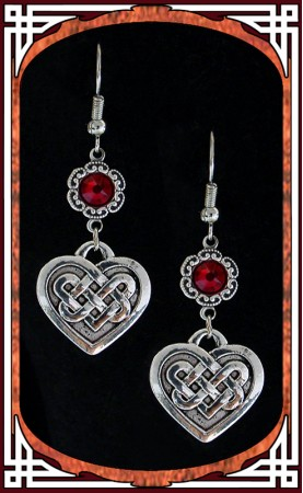 "Red ""Celtic Love"" Earrings"