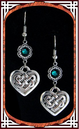 "Green ""Celtic Love"" Earrings"
