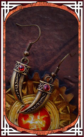 "Ruby Red ""Blade"" Earrings"