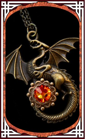 "Collier ""Dragon"" Opale Feu"