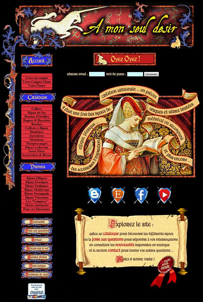 la page d'accueil du site  amonseuldesir.net en 2008