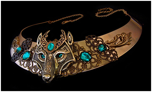 medieval wolf necklace emerald green moon crescent