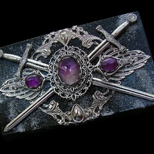 """💜🌌 SWORD """"AMETHYST KNIGHT"""" JEWELRY BOX available in my ETSY STORE 🌌💜 ♡ This is One-of-a-kind item ♡ ☆ ETSY LINK in BIO ☆ 💜🌌 #JewelBox #Amethyst #Gemstone #HeroicFantasy #JewelryBox #MedievalFantasy #Sword #CoatOfArms #Medieval"""