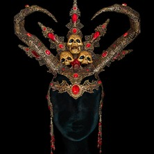 🔥💀  Ready for the Sacrifice ? 😂  💀🔥  #Headdress #HeadPiece #Hathor #Skull #Filigree #HornHeaddress #SkullHeaddress #DeathGoddess #AncientGoddess #Horned #AztecHeaddress #Mythical