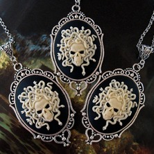 """💀 New Gothic """"Medusa"""" NECKLACES now available in my little online store and ETSY too ... 💀 ☆ LINKS for online shops in BIO ☆ 💀 #MedusaNecklace #Medusa #GothicNecklace #MedusaHair #CameoNecklace #MedusaCameo #MedusaStyle"""